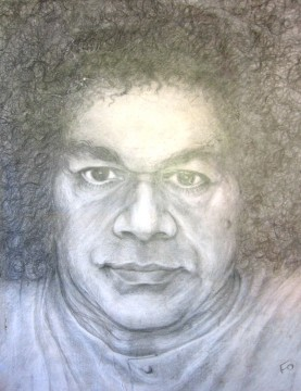 """Портрет Саи-Бабы, нарисованный """"его рукой"""" через Галину"""